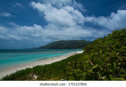 Savannah Bay Beach is a beautiful long curving stretch of sand on Virgin Gorda in the British Virgin Islands.