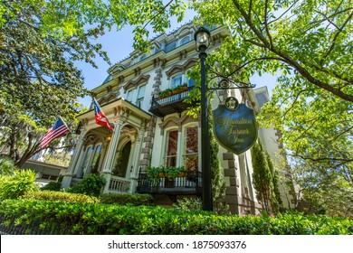 Savannah, GA - April 18, 2016: Former home of Samuel Hamilton, The Hamilton Turner Inn is on Lafayette Square in Savannah, Georgia's world famous historic district.
