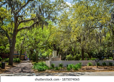 Savannah, GA - April 21, 2016: The bench scenes in the movie Forrest Gump take place here on Chippewa Square in Savannah, Georgia's world famous historic district.
