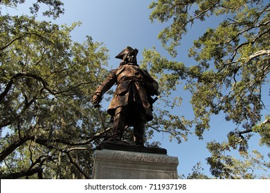 SAVANNAH, GA - JULY 22: The imposing James Oglethorpe monument presides over Chippewa Square July 22, 2017 in Savannah, Georgia