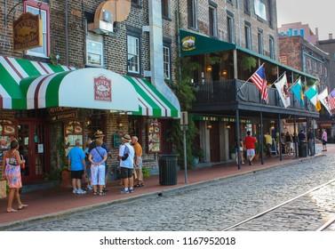 Savannah, GA / USA - 07/15/2014: River Street