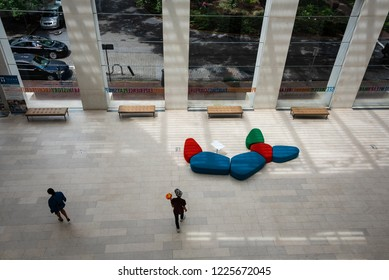 SAVANNAH, GA/U.S.A. - AUGUST 2, 2018: A photo of the lobby of the contemporary art museum, the Jepson Center for the Arts, with seats, in downtown Savannah.