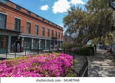 Savannah, Georgia - April 27th 2014 - Local and tourist enjoying a warm day in Savannah in Georgia, west USA