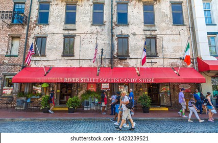 SAVANNAH, GEORGIA - April 28, 2019: Savannah is the oldest city in Georgia. From the historic architecture and parks to the shops on River Street, Savannah attracts millions of visitors annually.