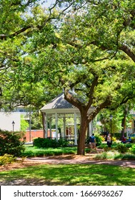 SAVANNAH, GEORGIA - April 29, 2019: Savannah is the oldest city in Georgia. From the historic architecture and parks to the shops in City Market, Savannah attracts millions of visitors annually.
