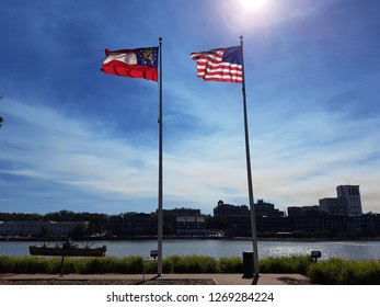 Savannah Georgia Country and State Flags in the Wind