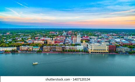 Savannah Georgia Downtown Skyline Aerial.