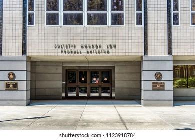SAVANNAH, GEORGIA - June 28, 2018: United States Juliette Gordon Low Federal Building