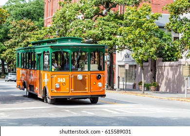 SAVANNAH, GEORGIA - June 5, 2014: Old Town Trolley Tours began in the early '70s in Key West Florida. They now have 130 trolleys in 7 cities.