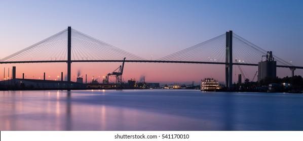 SAVANNAH, GEORGIA - NOVEMBER 14: Talmadge Memorial Bridge on November 14, 2016 in Savannah, Georgia. The bridge spans the Savannah River between Savannah, Georgia, and South Carolina.