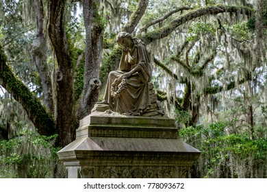 Savannah, Georgia - Oct 9, 2015: A grave monument in Bonaventure Cemetery. The 160-acre cemetery was established in 1846 and became a public cemetery in 1907.