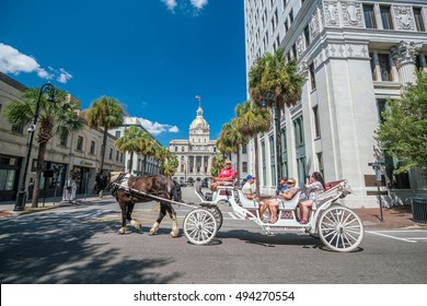 SAVANNAH, GEORGIA - SEPTEMBER 5 : Downtown Savannah Georgia USA on September 5, 2016 Established in 1733 on the Savannah River