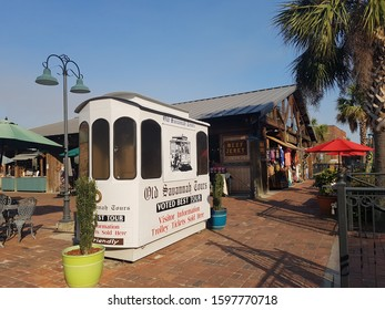 Savannah, Georgia, United States - Feb 17, 2017: Booth next to street lamp against blue sky background