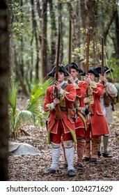 SAVANNAH GEORGIA, UNITED STATES - February 11, 2018: British Militia Firing Cannon and Muskets in Savannah Georgia at a Colonial Faire