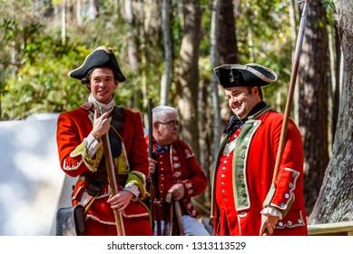 SAVANNAH GEORGIA, UNITED STATES - February 10, 2019: Red Coat British Militia Historical reenactment in Savannah Georgia at a Colonial Faire