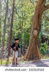 SAVANNAH GEORGIA, UNITED STATES - February 10, 2019: Blue Coat American Militia Historical reenactment in Savannah Georgia at a Colonial Faire