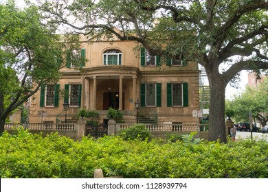 Savannah, Georgia / United States - June 25, 2018: Owens-Thomas house is located in historic Oglethorpe Square in downtown Savannah.
