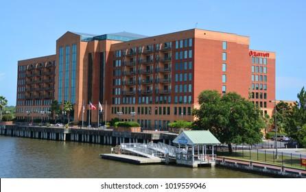 SAVANNAH GEORGIA USA 06 27 2016: Savannah Marriott Riverfront is located in the Historic Savannah neighborhood in Savannah, just 15 miles from Tybee Island.