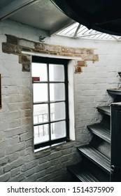 Savannah, Georgia, USA - 2/10/2019: Tybee Island lighthouse stairwell