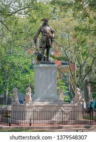Savannah, Georgia, USA: April 11th 2019; James Oglethorpe Monument in Chippewa Square