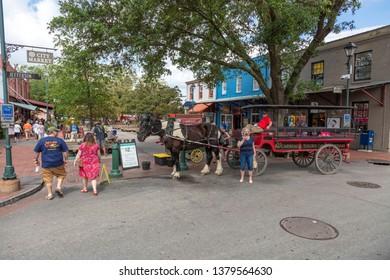 Savannah, Georgia, USA: April 11th 2019; Savannah city market