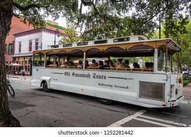 SAVANNAH, GEORGIA /U.S.A. - AUGUST 3, 2018: A photo of an Old Savannah Tours sightseeing trolley.