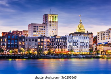 Savannah, Georgia, USA downtown riverfront skyline.