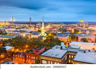 Savannah, Georgia, USA downtown skyline at night.