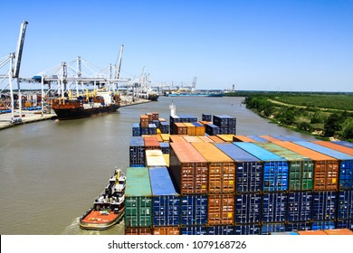 Savannah, Georgia/ USA - May 16 2014 : Container vessel entering the port