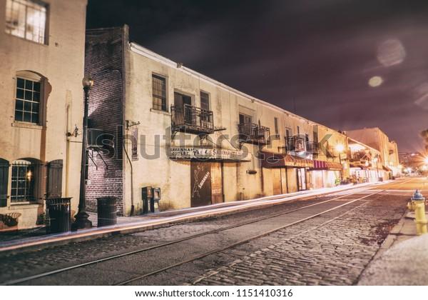 SAVANNAH, GEORGIA / USA - MAY 22, 2018: East River Street in Savannah, Georgia during late night hours. Shot in long exposure.