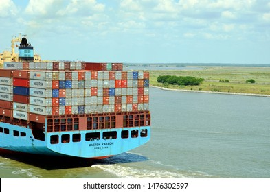 Savannah, Georgia / USA - May 23 2019: Fully loaded cargo container ship ''Maersk Karachi'' entering port of Savannah, Georgia.