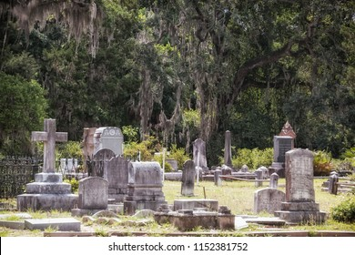 SAVANNAH, GEORGIA / USA - MAY 24, 2018: Bonaventure Cemetery in Savannah, Georgia. The cities oldest cemetery and resting place to historic figures and hauntingly beautiful memorials.