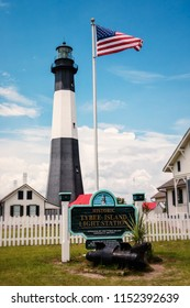 SAVANNAH, GEORGIA / USA - MAY 24, 2018: Tybee Island Light, one of seven surviving colonial era lighthouse towers. Located on Tybee Island at the mouth of the Savannah River in Georgia.