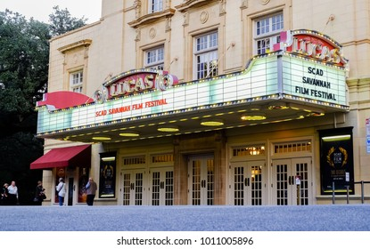 SAVANNAH, GEORGIA, USA - OCTOBER 31, 2017: TheLucas Theatre on Abercorn Street in the historic downtown district in Savannah, Georgia hosting SCAD Film Festival in October 2017.