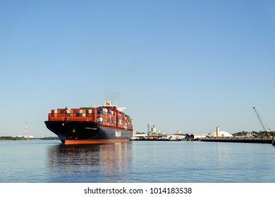SAVANNAH, GEORGIA, USA - OCTOBER 31, 2017: Huge container ship Hapag-Lloyd near the port in Savannah, GA, USA