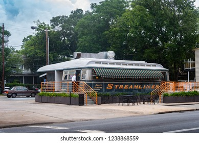 SAVANNAH, GEORGIA/U.S. - AUGUST 2, 2018: A photo of the historic 1930's Sandfly BBQ at the Streamliner Diner.