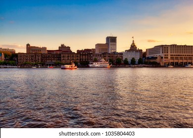 SAVANNAH, GEORGIA/USA - APRIL 23, 2016:  The Savannah waterfront provides a beautiful view of the skyline.  This is a very popular tourist destination.