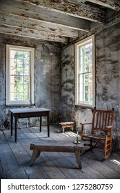 SAVANNAH, GEORGIA/U.S.A. - AUGUST 3, 2018: Photo of one of the slave quarter rooms at the historic landmark Owens Thomas House.  The site has tours of the main house and slave quarters