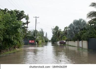 Savannah, Grand Cayman, Cayman Islands - 11/7/20: tropical storm Eta has caused significant damage to Grand Cayman. This shot shows destructive flooding
