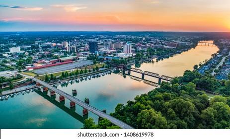 Savannah River and Augusta, Georgia, USA Aerial.