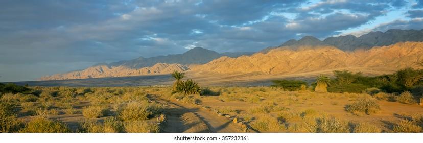 Savannah valley of Arava desert near the border between Jordan and Israel