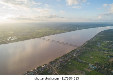 Savannakhet, Laos, 05 of September 2018. the aerial view of the friendship bridge at Savannakhet border. it is an important bridge to do a communication and business both Lao-Thai.