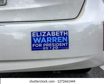 SAVANNH, GEORGIA - January 2, 2019: Car Auto Bumper Sticker Supporting Elizabeth Warren for President of the United States of America in the Year 2020