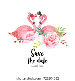 Save The Date card. Watercolor card with flamingos can be used as invitation card for wedding, birthday and other holiday and summer background.