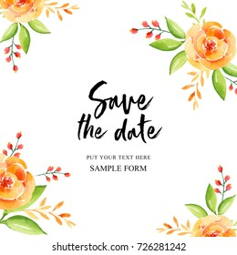 Save The Date card. Watercolor Flowers card can be used as invitation card for wedding, birthday and other holiday and summer background.