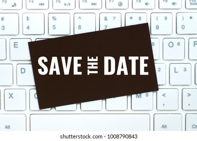 save the date on craft paper card