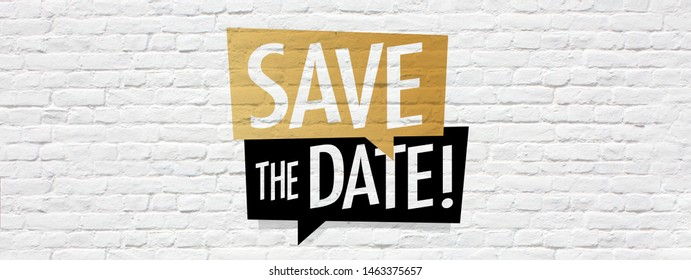 Save the date on speech bubble