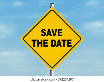 Save the date. Road sign on the sky background. Raster illustration.