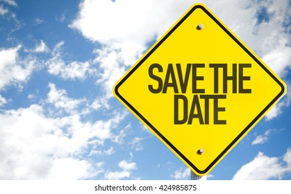 Save the Date sign with sky background