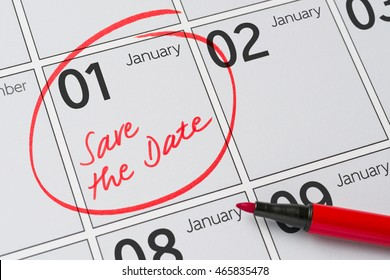 Save the Date written on a calendar - January 1